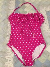 Women's Pink Polka Dot One-Piece Swimsuit Size 12 Beach Diva