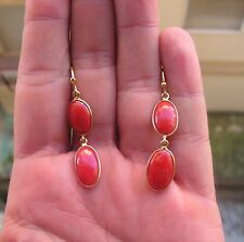 Antique Style Genuine Big Coral Drop Coral Earrings Carved Made in ITALY BALL
