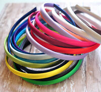 ������ PLAIN SATIN ALICE BAND Pack of 6 HAIR BAND HEADBAND 10mm ������