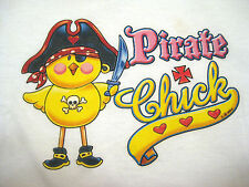 NEW PIRATE CHICK Shirt  For Mommy Sz M-L Fits 36 to 38 White Crew Neck Women's