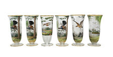 6 Bohemian Tall Water Glass Hand Painted Various Birds Enamel Relief Decoration