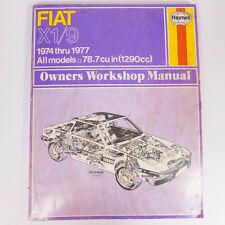 Vintage Fiat X1/9 1974 thru 1977 All Models 78.7 cu in(1290cc) Workshop Manual