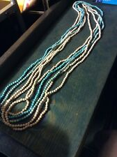 Vintage Estate Jewelry 5 Strands Turquoise Blue And Beige Stone Necklaces