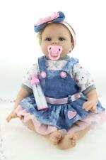"""22""""Vinyl Silicone Reborn Baby Toy Soft Gentle Touch Cloth Body/Magnetic pacifier"""