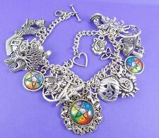 WICCAN CHARM BRACELET pagan wicca pentagram pentacle witch sun moon owl gift box