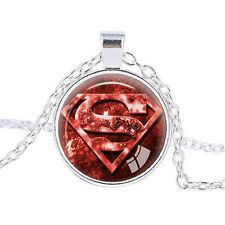 Superman Logo Photo Cabochon Tibet silver Glass Chain Pendant Necklace A135