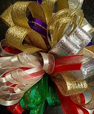 SPARKLY CHRISTMAS RIBBON BUNDLES 10 x 1M GIFT WRAPPING, WREATHS, DECORATIONS
