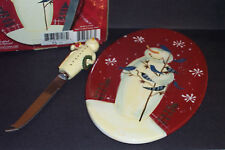 "Certified International Twilight Snowman Pattern 9"" Cheese Tray w/ Knife IOB"