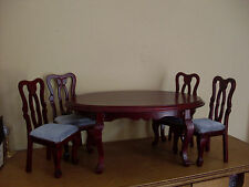 Dollshouse miniature ~ Mahogany ~  Dining Table & Chairs