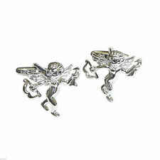 Rhodium Plated Cupid with His Bow and Arrow Cufflinks X2N270