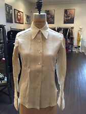 Larry's Custom Shirts Sz S Tan Linen Blouse 1970s Vintage