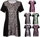 Womens Plus Size Printed Ladies Short Sleeve Keyhole Flared Swing Dress Long Top