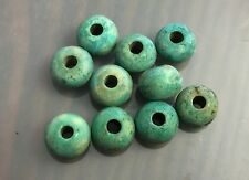 Vintage Trade Stained Seafoam Blue Green Boone Organic Chubby Rondell Beads