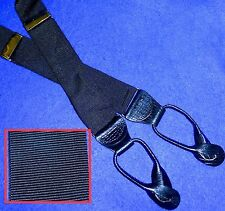 ENGLISH  BLACK GROSGRAIN & BRASS & BLACK LEATHER SUSPENDERS BUTTON TAB BRACES
