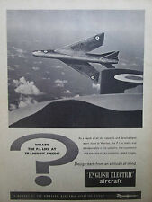 9/1957 PUB ENGLISH ELECTRIC AIRCRAFT P.1 SUPERSONIC FIGHTER RAF ORIGINAL AD