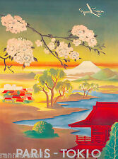 Japan Japanese Paris Tokyo Mt. Fuji Asia Vintage Travel Advertisement Poster