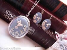 JRJ21 Blue Hummingbird Cameo Locket French earring Silver Set Mothers Day Photo