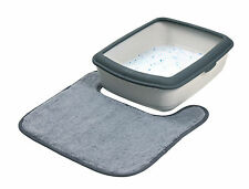 Cat Litter Tray Mat Plush Grey Mat for Removing Cat Litter from Paws