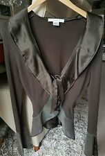 **NOUGAT SIZE 3 UK12/14 GORGEOUS BROWN FINE KNIT WRAP TOP WITH LEATHER TRIM**