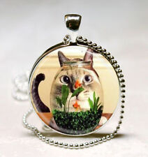 Vintage Cat watching fish Cabochon Glass Necklace Pendant Ball Chain Necklace*