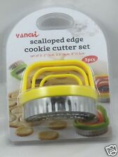New 3-Pieces Scalloped Edge Cookie Cutter Set-Yellow