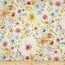 By 1/2 Yard ~ Free Spirit Fabric ~ Watercolor Floral in White ~ Dena Designs