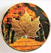 2014 1oz  Silver Maple Leaf Coin .9999 Colorized and Gold Gilded Fall Fores....