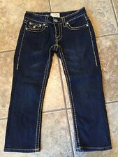 LA Idol Jeans Dark Wash Rhinestone Thick Gold Stitch Size 0 (26X 20.5) Capri