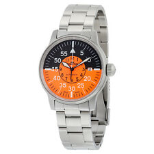 Fortis Flieger Cockpit Automatic Black and Orange Dial Stainless Steel Mens
