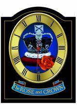 ROSE & CROWN Pub Sign WALL CLOCK for your Home Bar, Man Cave or Pub Shed
