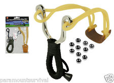 Dual Band Steel Pocket Sling Shot with 10 Steel balls Bearings Ammo NEW