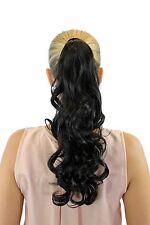 Postiche Tresse Peigne enfichable Bandeau avec des cheveux brun foncé ondulé