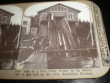 Old stereoview photograph a saw mill in Kramfors Sweden Realistic Travels c1910s