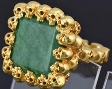 The most impressive Victorian Memento Mori Skulls vermeil silver&Emerald ring