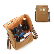 Outdoor Picnic Set for two Insulated Lunch Bag Crossbody Messenger TRAVEL Bag