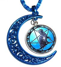 BLUE MOON BLACK CAT PENDANT wiccan petagram pentacle necklace pagan kitty new 3F