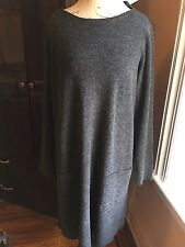 NWT $228 Eileen Fisher Charcoal Drapey Wool Boucle Bateau Neck Tunic Dress L