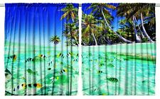 Tropical Beach Kitchen Curtain Set 2 Panels Dining Room Window Cover Ocean Fish