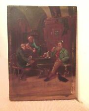 antique 1800s original mini figural men drinking ale house bar oil painting old