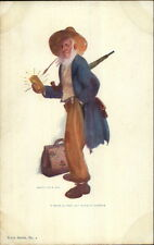 R. Hill Rube Series #2 - Confused Holding a Gold Brick c1905 Postcard rpx