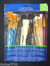 25 PIECE ALL PURPOSE BRUSHES FOR USE WITH OIL AND WATER BASED PAINTS