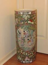 Superb Chinese Umbrella Stand Famille Rose Porcelain Qianlong Period - Marked