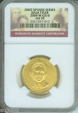 2009-W $10 Gold Commemorative First Spouse Julia Tyler Ngc Ms70 Ms-70 1/2 Oz. !