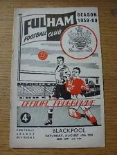 29/08/1959 Fulham v Blackpool  (Match Details Noted Inside). Item In very good c