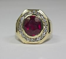 Men's 14k Yellow Gold Oval Cut Ruby Halo of White Round Diamond Ring Size 9.25