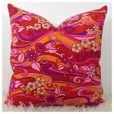 Cushion Cover Vtg 60s 70s Psychedelic Water Music Pink Fabric By Jonelle
