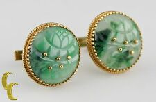 Cellino Vtg 18k/14k Yellow Gold Imperial Jade Cufflinks 28 mm Diameter 29.9 g
