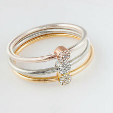 A Set Of Gold/Silver Plated Lady Girl Three Color Bracelets Jewelry For Gift