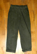 Vintage 1970s olive green peg-leg corduroy pleated grandpa style trousers 10-12