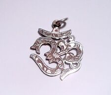 Tibetan Buddhist Etched Sterling Silver OM  Pendant